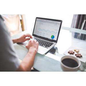 フリー写真, 人物, 家電機器, パソコン(PC), ノートパソコン, SEO, ウェブサイト, コーヒー, クッキー(ビスケット), グラフ