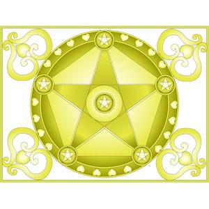 フリーイラスト, ベクター画像, AI, 背景, 抽象イメージ, ハート, 星(スター), 魔法陣