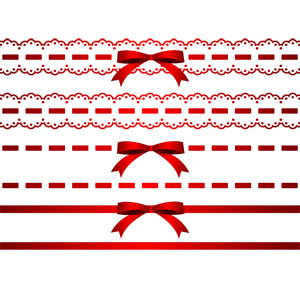 フリーイラスト, ベクター画像, AI, 飾り罫線(ライン), リボン, 蝶リボン, 赤色(レッド)