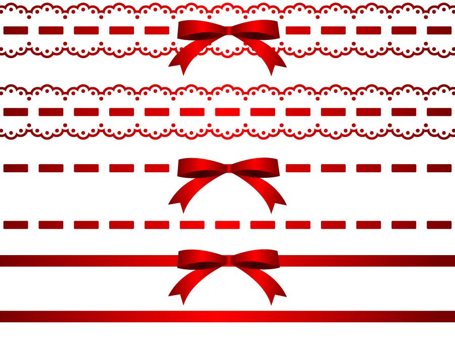 フリーイラスト 6種類の赤色のリボンのライン