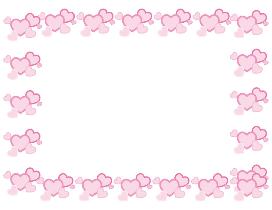 フリーイラスト 重なり合ったピンク色のハートの飾り枠