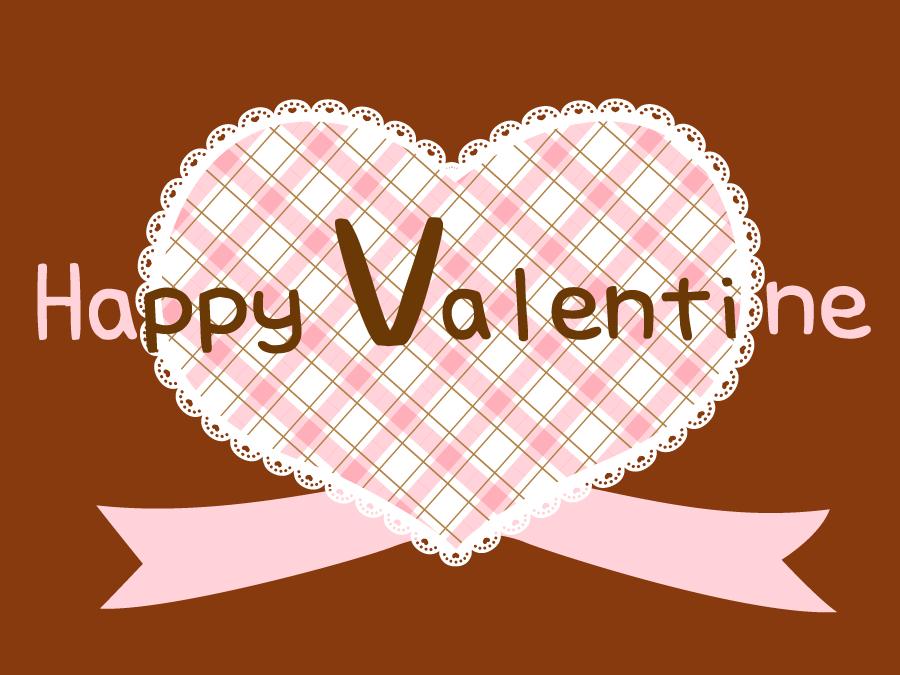 フリーイラスト チェック柄のハートのバレンタインデーの背景