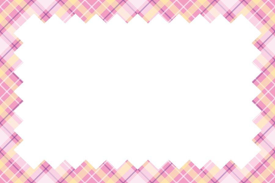 フリーイラスト タータンチェック柄の飾り枠