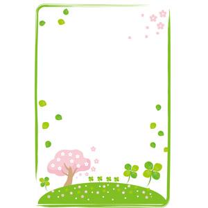フリーイラスト, ベクター画像, AI, 背景, フレーム, 囲みフレーム, 桜(サクラ), 植物, クローバー(シロツメクサ), 四つ葉のクローバー, 春