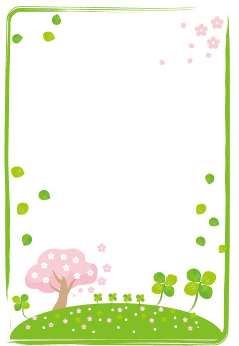 フリーイラスト 桜とクローバーの飾り枠