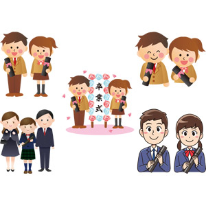 フリーイラスト, ベクター画像, AI, 学校, 卒業式, 卒業証書, 人物, 少年, 少女, 学生(生徒), 高校生, 学生服, ブレザー制服, 2月, 3月, 家族, 父親(お父さん), 母親(お母さん), 娘, 桜(サクラ)