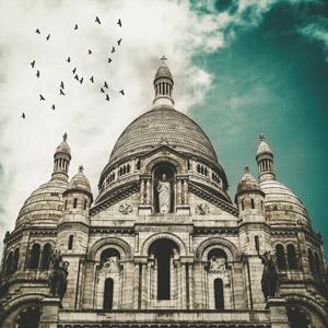 フリー写真, 風景, 建造物, 建築物, 教会(聖堂), サクレ・クール寺院, フランスの風景, パリ
