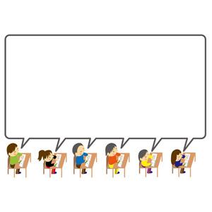 フリーイラスト, ベクター画像, EPS, 背景, フレーム, 囲みフレーム, 吹き出し, 学校, 小学校, 小学生, 授業, 教育, 勉強(学習), 勉強机