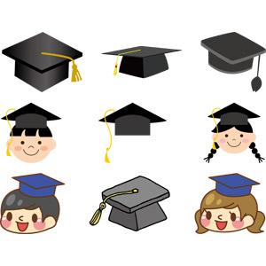 フリーイラスト, ベクター画像, AI, 学士帽子(モルタルボード), 帽子, 学生服, 卒業式