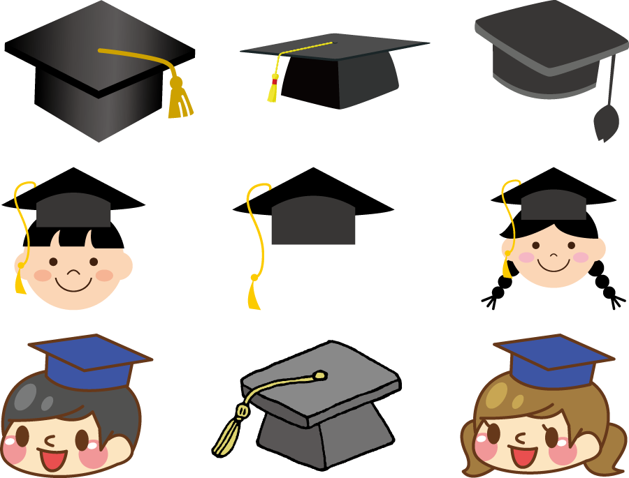 フリーイラスト 9種類の学士帽子のセット