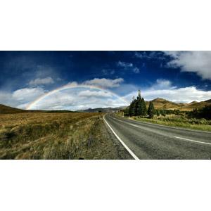 フリー写真, 風景, 道路, 虹, 雲, ニュージーランドの風景