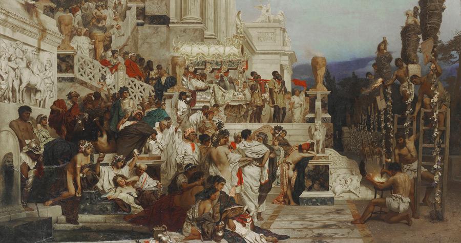 フリー絵画 ヘンリク・シェミラツキ作「ネロの松明」