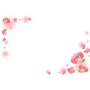 フリーイラスト, ベクター画像, EPS, 背景, フレーム, 対角フレーム, 花, 桃(モモ), ピンク色の花, 春