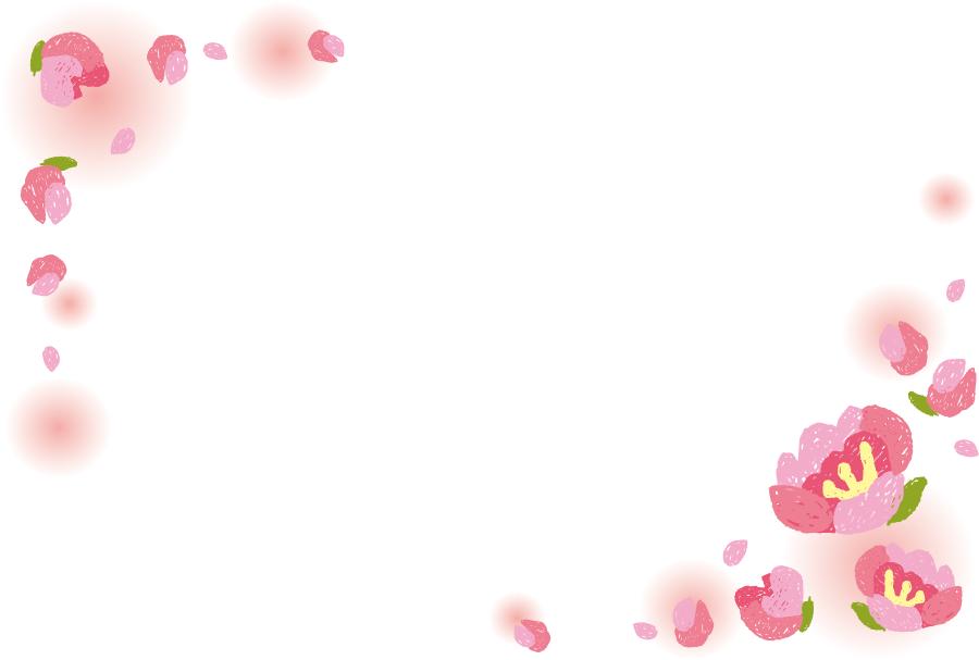 フリーイラスト 桃の花の飾り枠