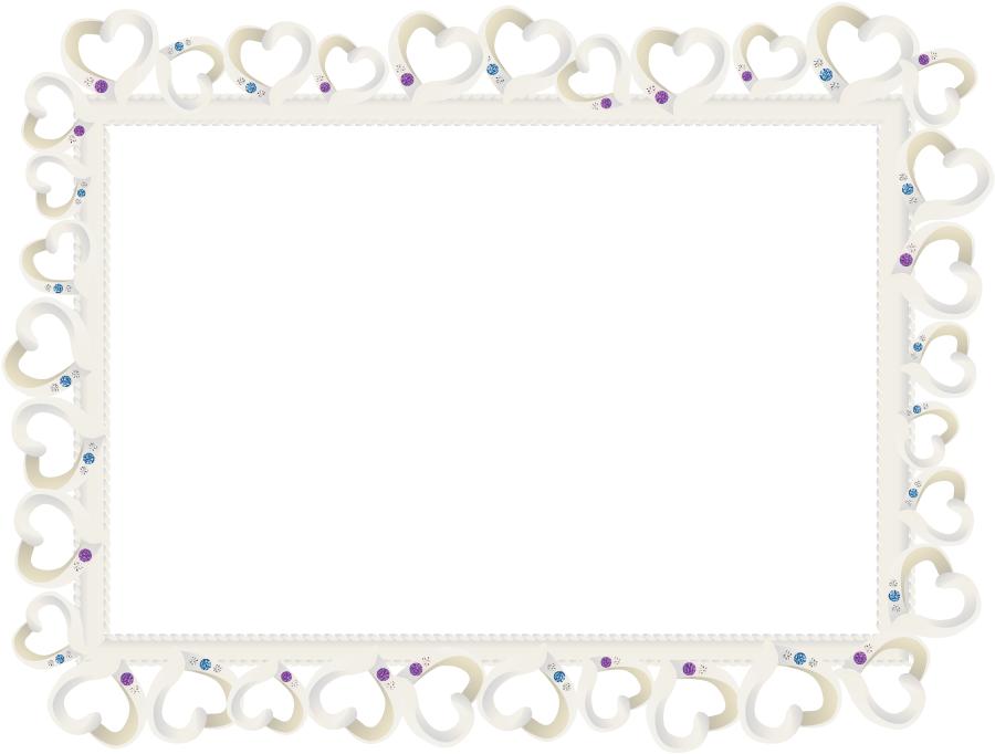 フリーイラスト ハートと宝石の飾り枠