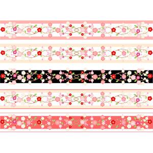 フリーイラスト, ベクター画像, AI, 飾り罫線(ライン), 和柄, 花柄, 梅(ウメ), 春