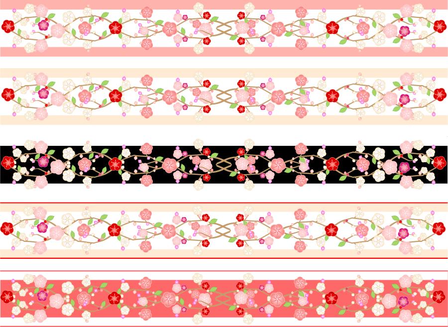 フリーイラスト 5種類の梅の花の和柄飾り罫線
