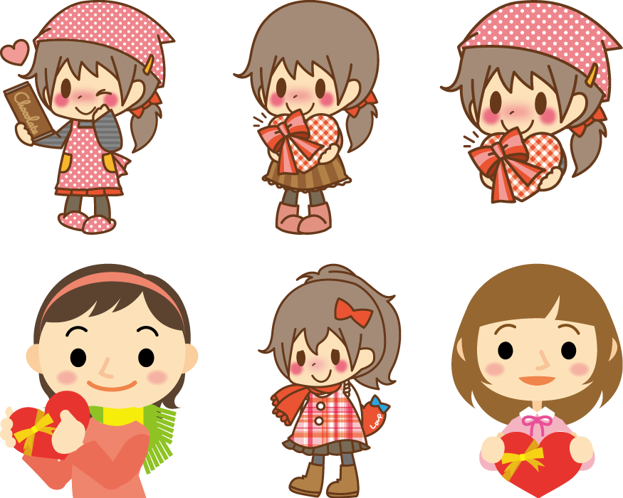 フリーイラスト 6種類のバレンタインチョコを渡す女の子のセット