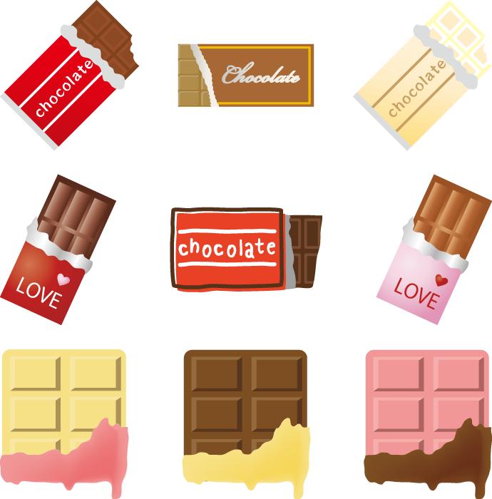 フリーイラスト 9種類の板チョコのセット