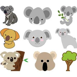 フリーイラスト, ベクター画像, AI, 動物, 哺乳類, コアラ, 親子(動物)