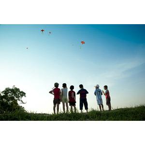 フリー写真, 人物, 子供, 男の子, 集団(グループ), 凧(たこ), 子供の遊び, 正月, 1月, 後ろ姿