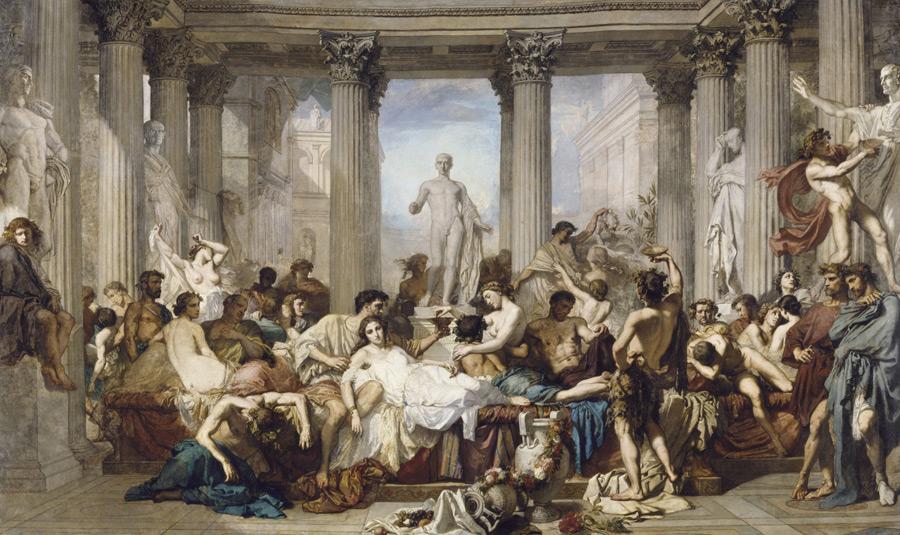フリー絵画 トマ・クチュール作「退廃期のローマ人たち」