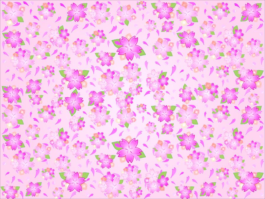 フリーイラスト 桜の花と花びらの背景