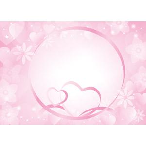 フリーイラスト, ベクター画像, AI, 背景, ハート, リボン, ピンク色, 花柄