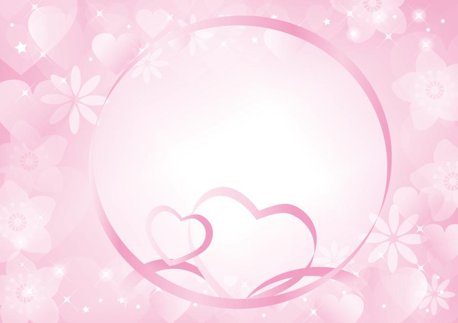 フリーイラスト ハートのリボンとピンク色の背景