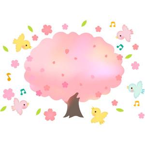 フリーイラスト, ベクター画像, EPS, 背景, 樹木, 桜(サクラ), 春, 動物, 鳥類, 鳥(トリ), 小鳥, 音符