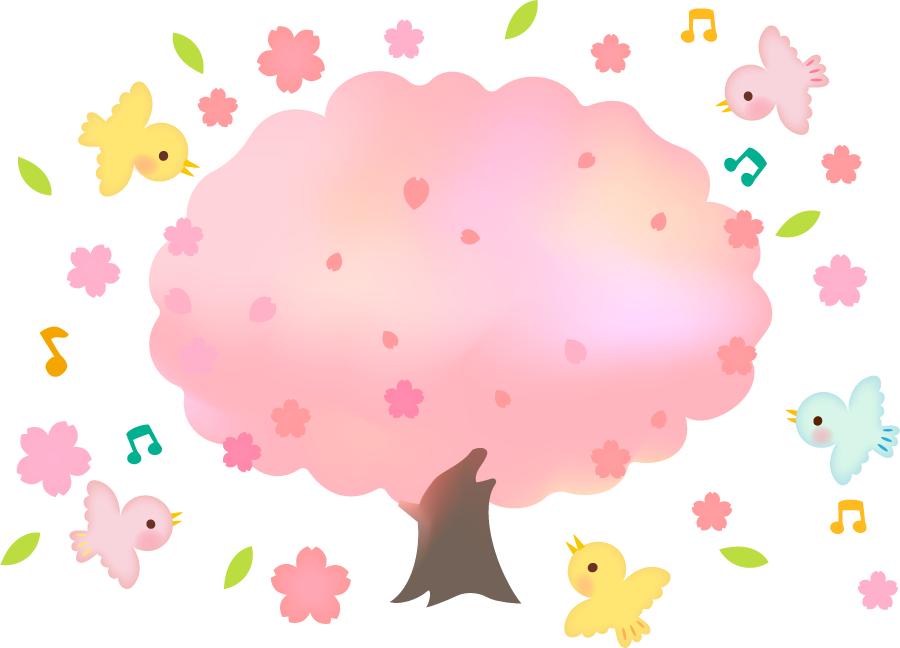 フリーイラスト 満開の桜の木と小鳥たち