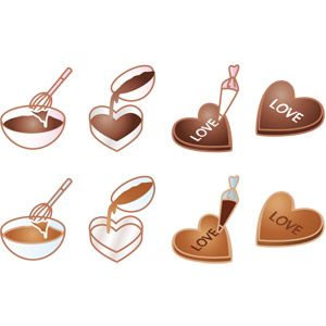 フリーイラスト, ベクター画像, AI, 年中行事, 2月, バレンタインデー, ハート, 食べ物(食料), 菓子, 洋菓子, チョコレート, お菓子作り, 愛(ラブ)