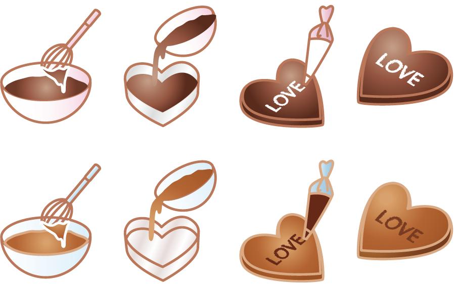 フリーイラスト 8種類の手作りのバレンタインチョコのセット