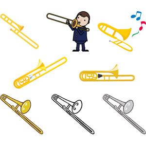 フリーイラスト, ベクター画像, AI, 音楽, 楽器, 金管楽器, トロンボーン, 少年, 演奏する, 学生(生徒)