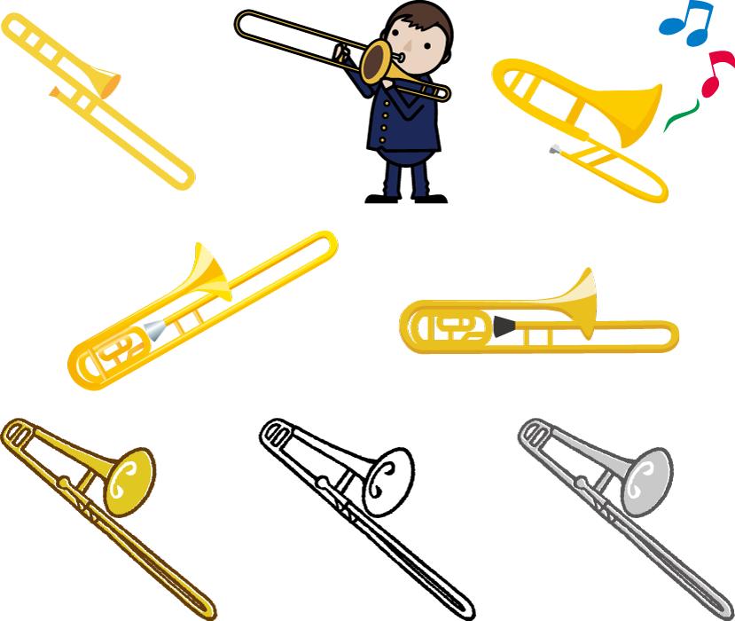 フリーイラスト 8種類のトロンボーンとトロンボーン奏者