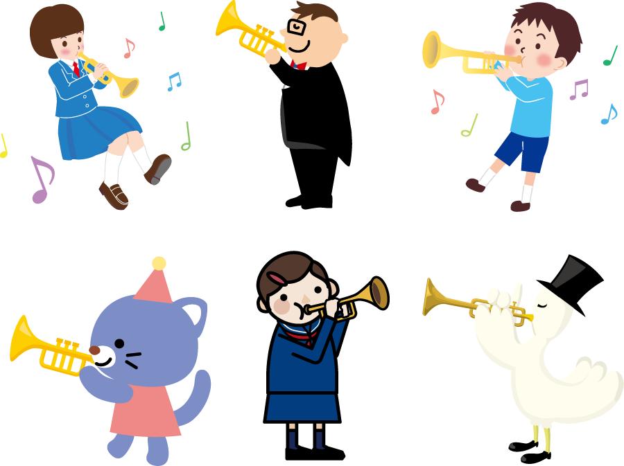 フリーイラスト 6種類のトランペット奏者のセット