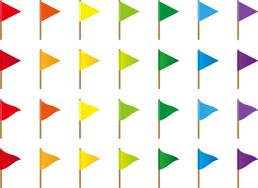 フリーイラスト 28本の三角形の旗のセット