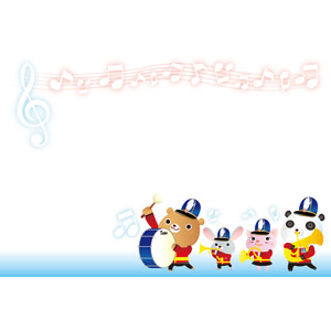 フリーイラスト, ベクター画像, AI, 背景, フレーム, 上下ーフレーム, 楽譜, 音符, 動物, 音楽, 熊(クマ), 鼠(ネズミ), 猫(ネコ), ジャイアントパンダ, 演奏する, 大太鼓, トランペット, ホルン, チューバ, 楽器