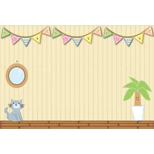 フリーイラスト, ベクター画像, AI, 背景, 部屋, フラッグガーランド, 観葉植物, 猫(ネコ)