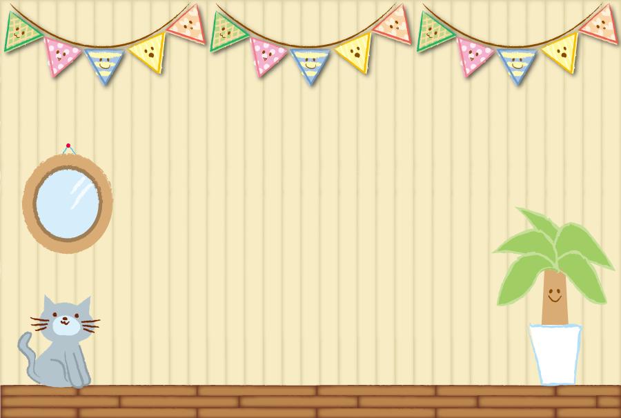 フリーイラスト 猫のいる部屋の風景