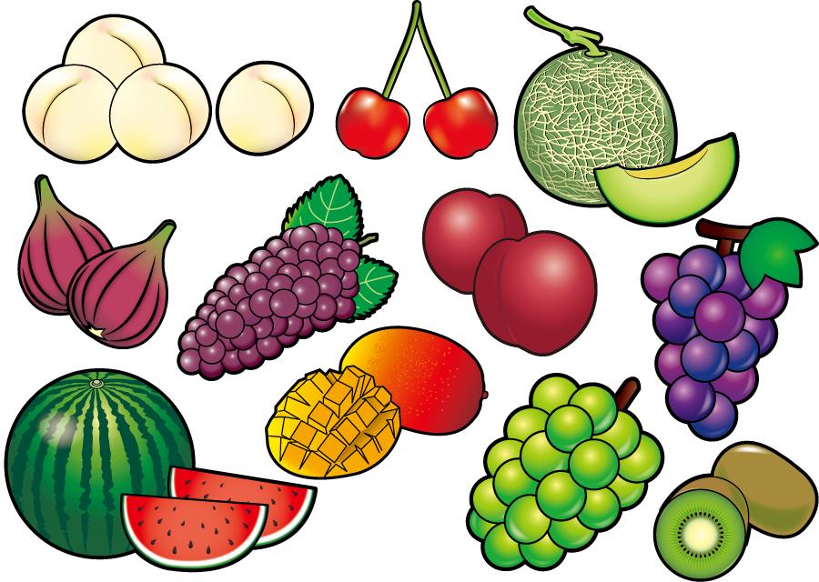 フリーイラスト 桃や葡萄などの11種類の果物のセット