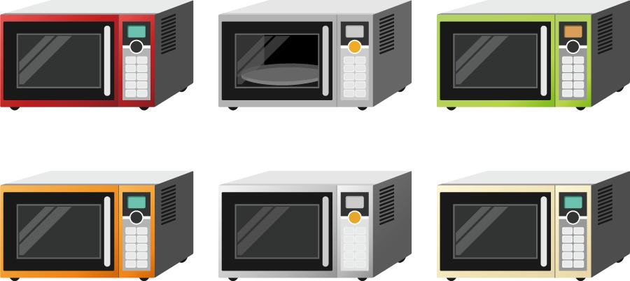 フリーイラスト 6種類の電子レンジのセット