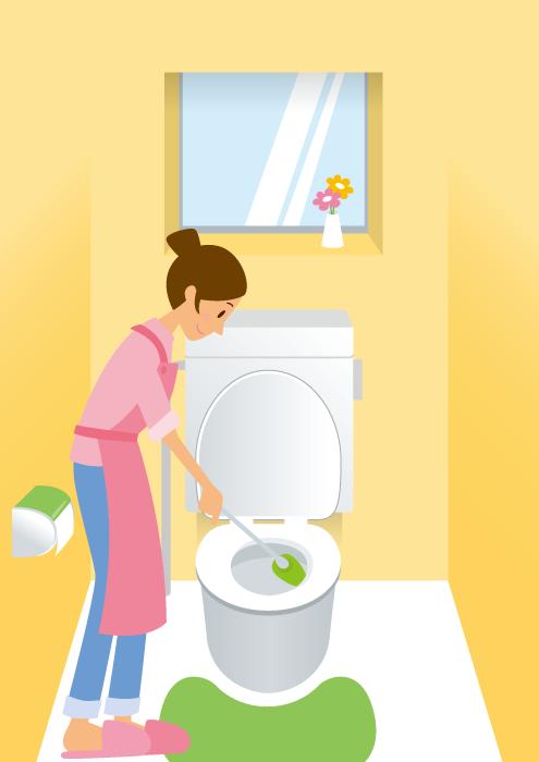 フリーイラスト トイレを掃除する主婦