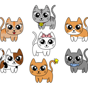 フリーイラスト, ベクター画像, EPS, 動物, 哺乳類, 猫(ネコ), 三毛猫, 茶トラ猫, 茶白猫, サバトラ猫, 白猫