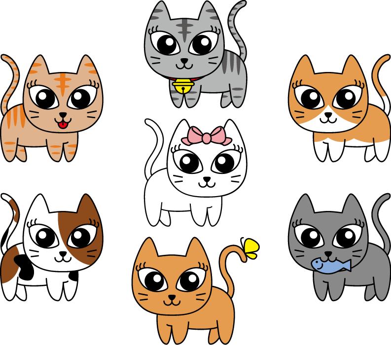 フリーイラスト トラ猫や三毛猫などの7種類の猫のセット