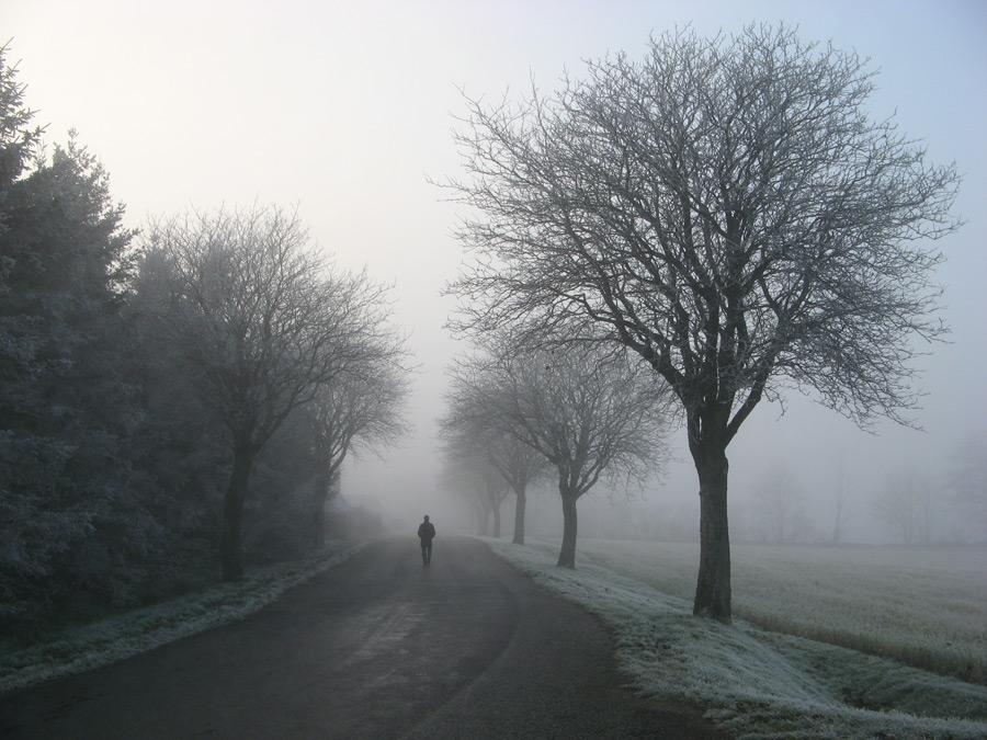 フリー写真 冬の田舎道を歩く人物と風景