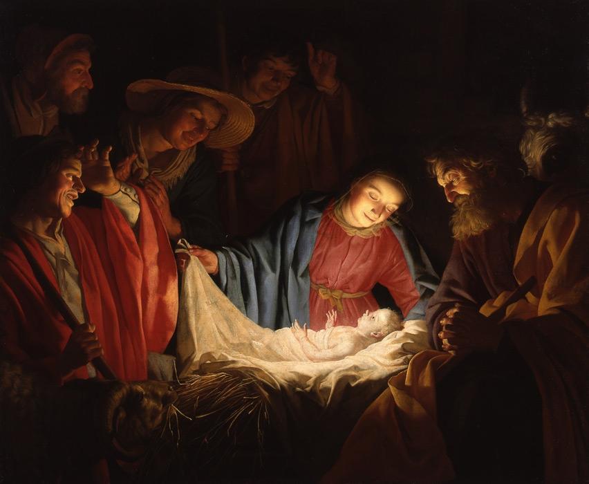 フリー絵画 ヘラルト・ファン・ホントホルスト作「羊飼いの礼拝」