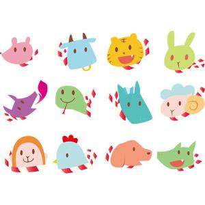 フリーイラスト, ベクター画像, AI, 干支(十二支), 子年, 丑年, 寅年, 卯年, 辰年, 巳年, 午年, 未年, 申年, 酉年, 戌年, 亥年, 動物の顔, 動物