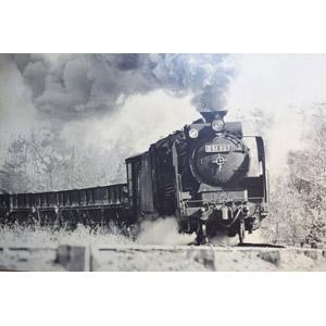 フリー写真, 乗り物, 列車(鉄道車両), 汽車, 蒸気機関車, 日本の鉄道車両, 煙(スモーク), モノクロ
