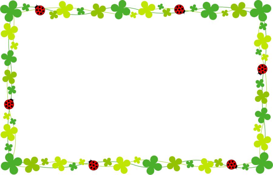 フリーイラスト てんとう虫と四つ葉のクローバーの飾り枠